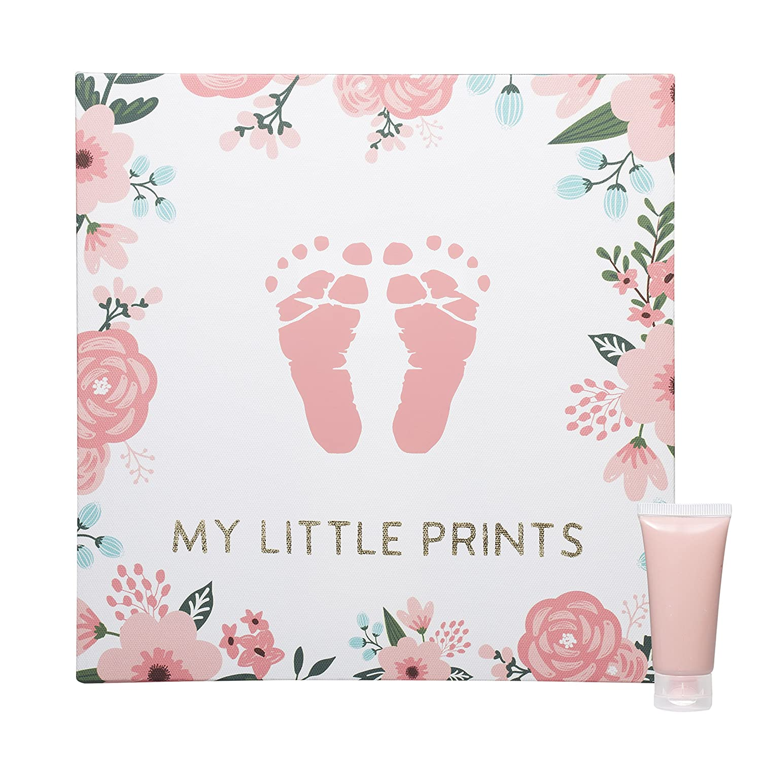 Pink Floral Pearhead Babyprints Baby Handprint or Footprint Keepsake Wall Canvas and Paint Kit