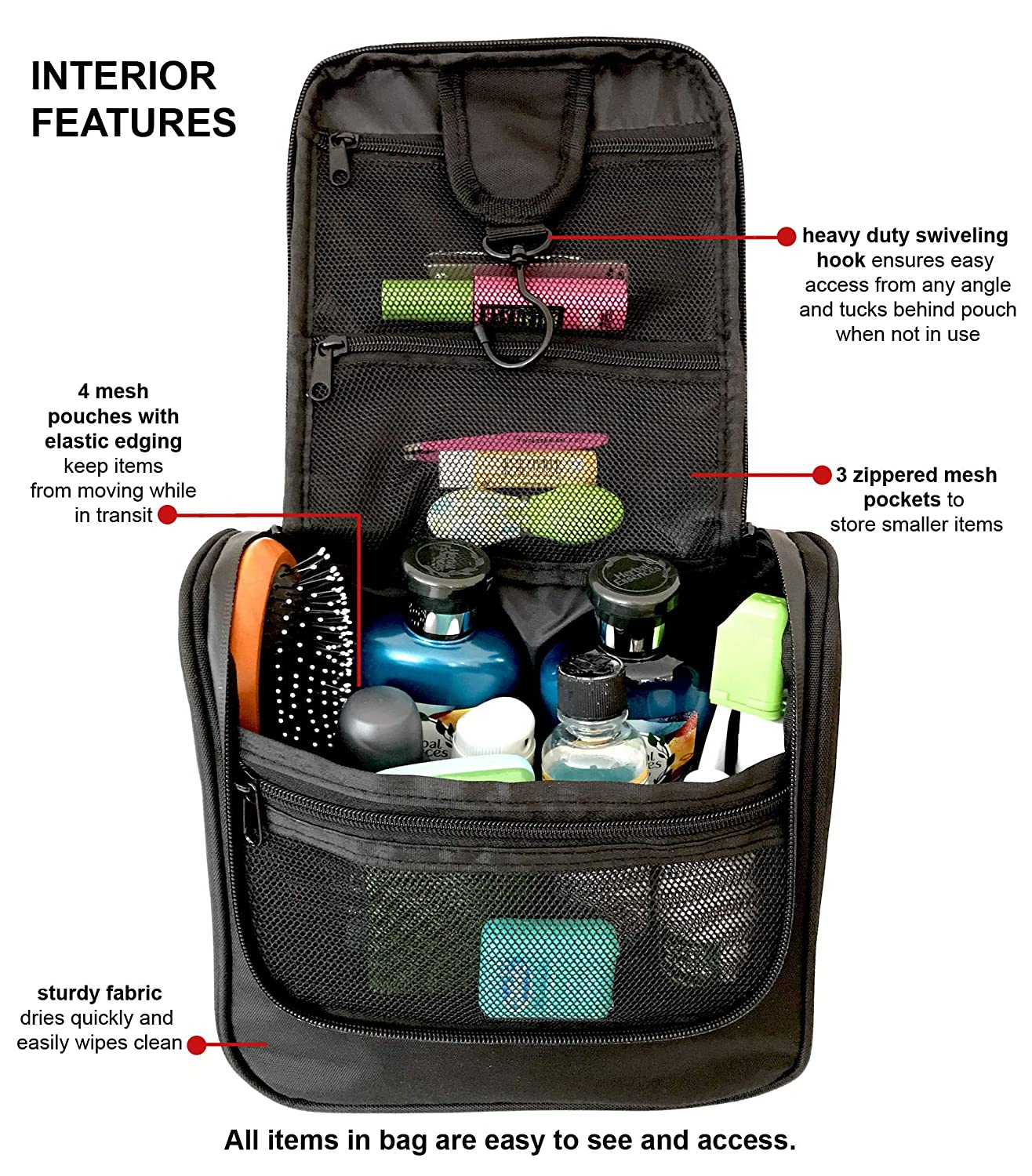 73bad113ef Amazon.com   WAYFARER SUPPLY Hanging Toiletry Bag  Pack-it-flat Travel Kit