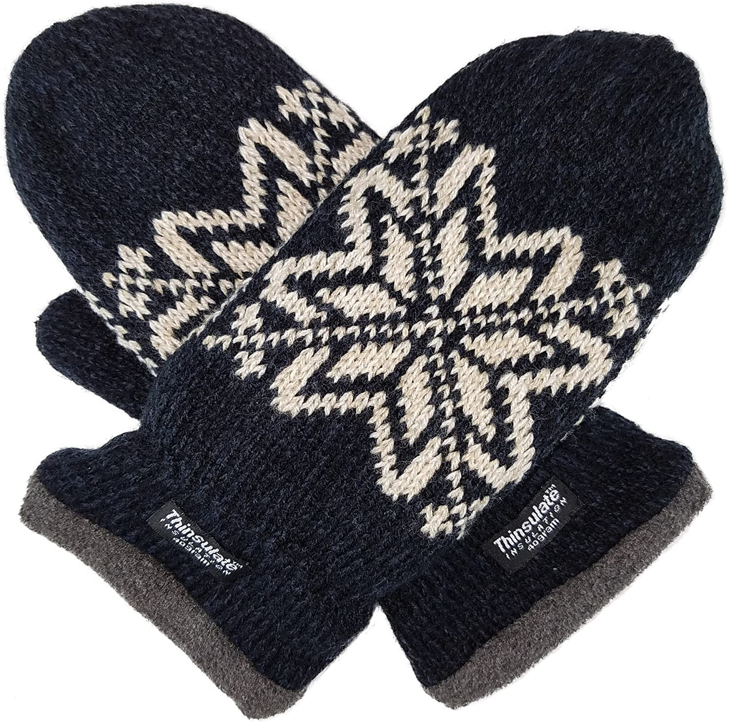 Bruceriver Mens Snowflake Knit Mittens with Warm Thinsulate Fleece Lining at  Men's Clothing store
