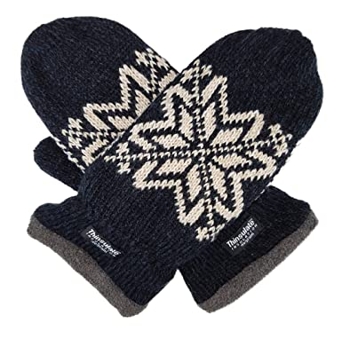 Bruceriver Mens Snowflake Knit Mittens With Warm Thinsulate Fleece