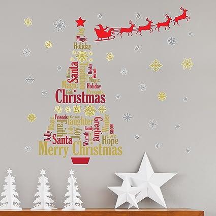 Addobbi Natale Scuola Infanzia.Wallflexi Addobbi Natalizi Adesivi Murali Slitta Con Babbo