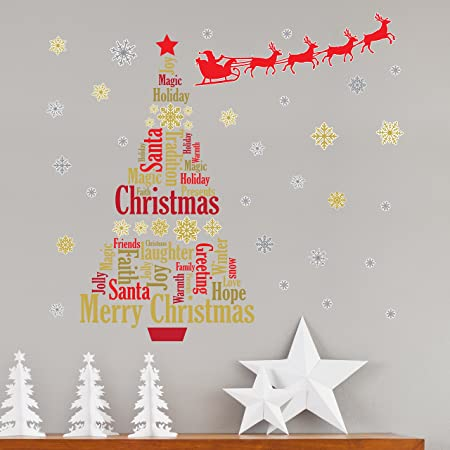 christmas decorations wall stickers santas sleigh with english quotes christmas tree wall murals