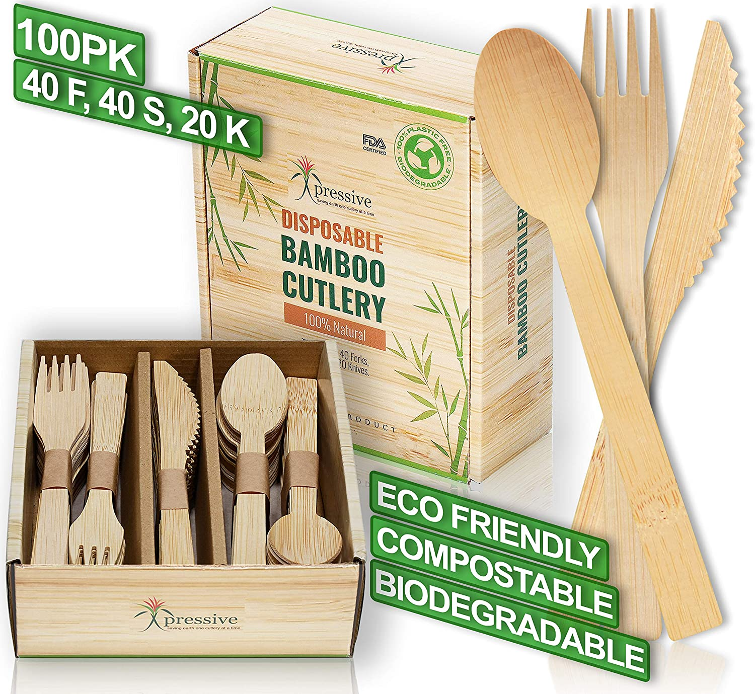 Bamboo Disposable Cutlery Set 100pk 40 Fork 40 Spoon 20 Knife Eco Friendly Natural Compostable Biodegradable Utensils Premium Organic Sustainable Reusable Alternate To Plastic Pla Wooden