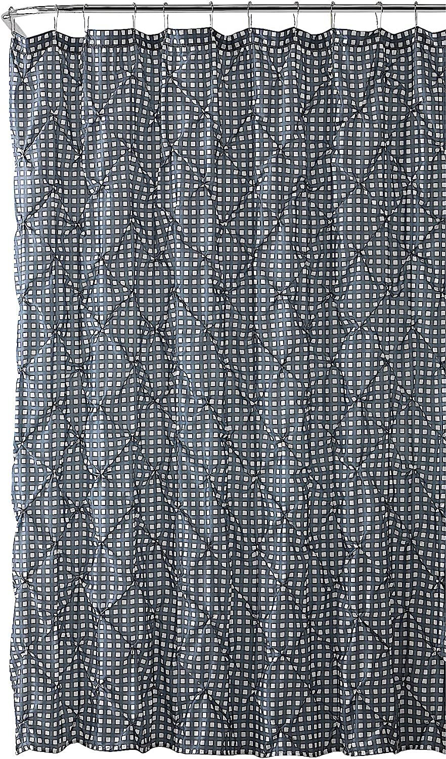 VCNY Home Fabric Shower Curtain: Farmhouse Gingham with Pintuck Design (Gunmetal Grey and White)
