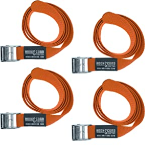"SECURE IT QUICK - Cinch TIE Down CAM Utility Lashing Straps - 1"" Wide Heavy Duty Webbing (48"" - 4 Pack, Orange)"