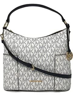 aed633a1452c1b Michael Kors Anita Signature PVC Large Convertible Shoulder Bag in  Navy/White