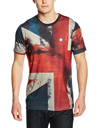 02a858201 Pretty Green Men's Union Short Sleeve T-Shirt, Red, Small: Amazon.co ...