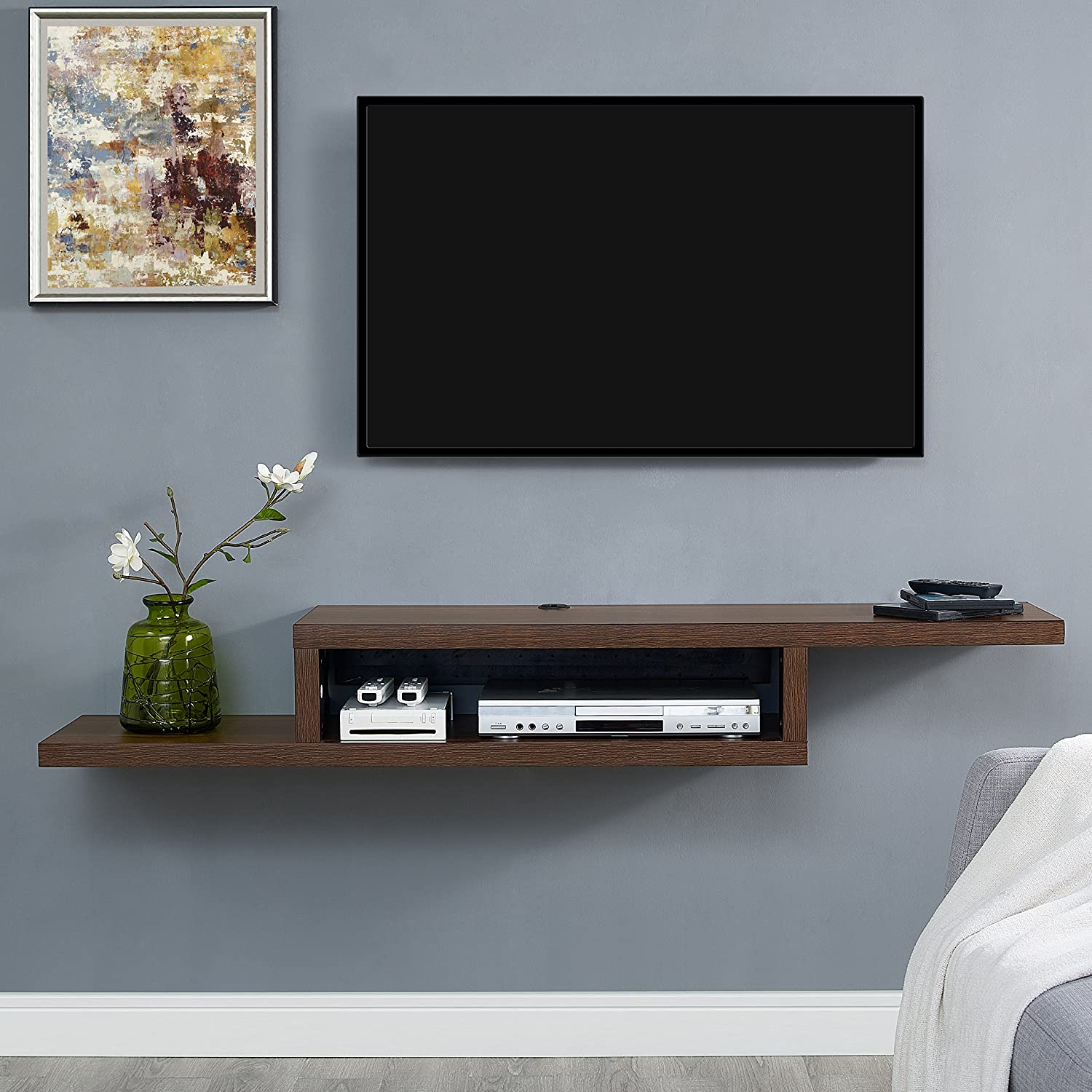 Martin FurnitureAsymmetrical Floating Wall Mounted TV Console, 60inch, Columbian Walnut