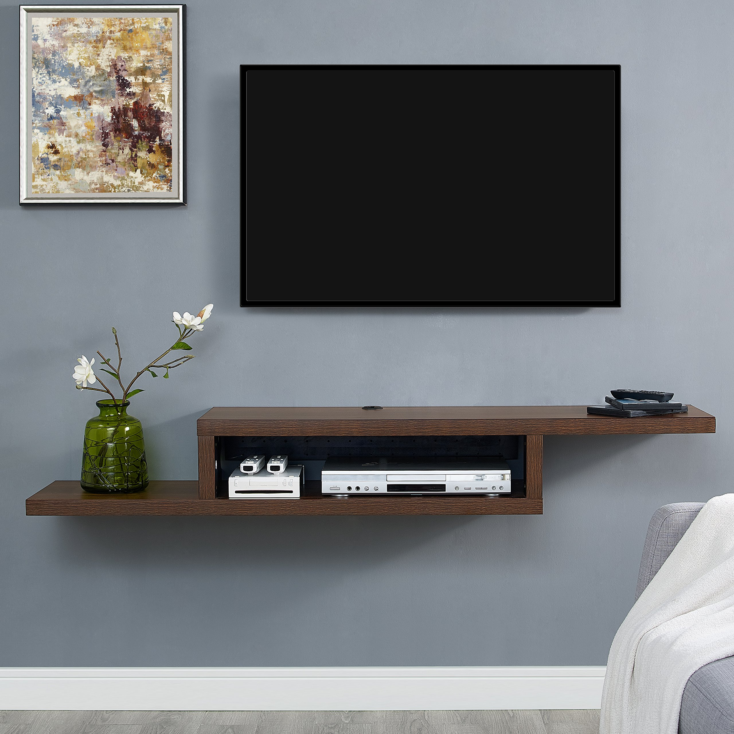 Martin Furniture Asymmetrical Floating Wall Mounted TV Console, 60inch, Columbian Walnut - by Martin Furniture