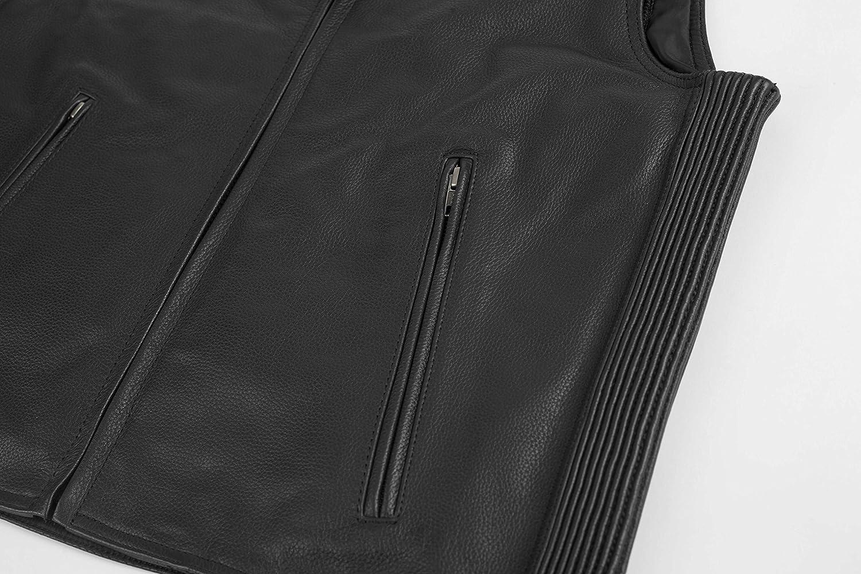 Black, 4X-Large Black Brand Mens Leather Dagger Motorcycle Vest