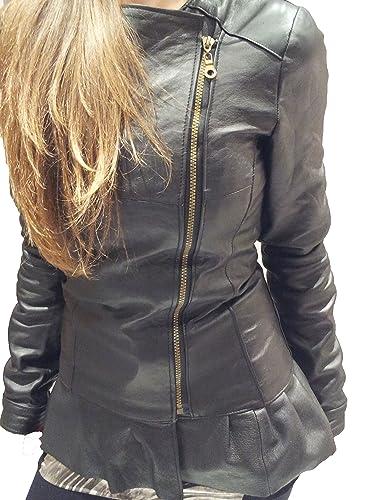 Creazioniinpelle chaqueta de cuero auténtico 100% muy suave de mujeres hecho en italia crd