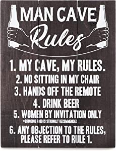 Bella Rosa Home Man Cave Decor - Man Cave Rules Sign - Gifts for Men who Have Everything