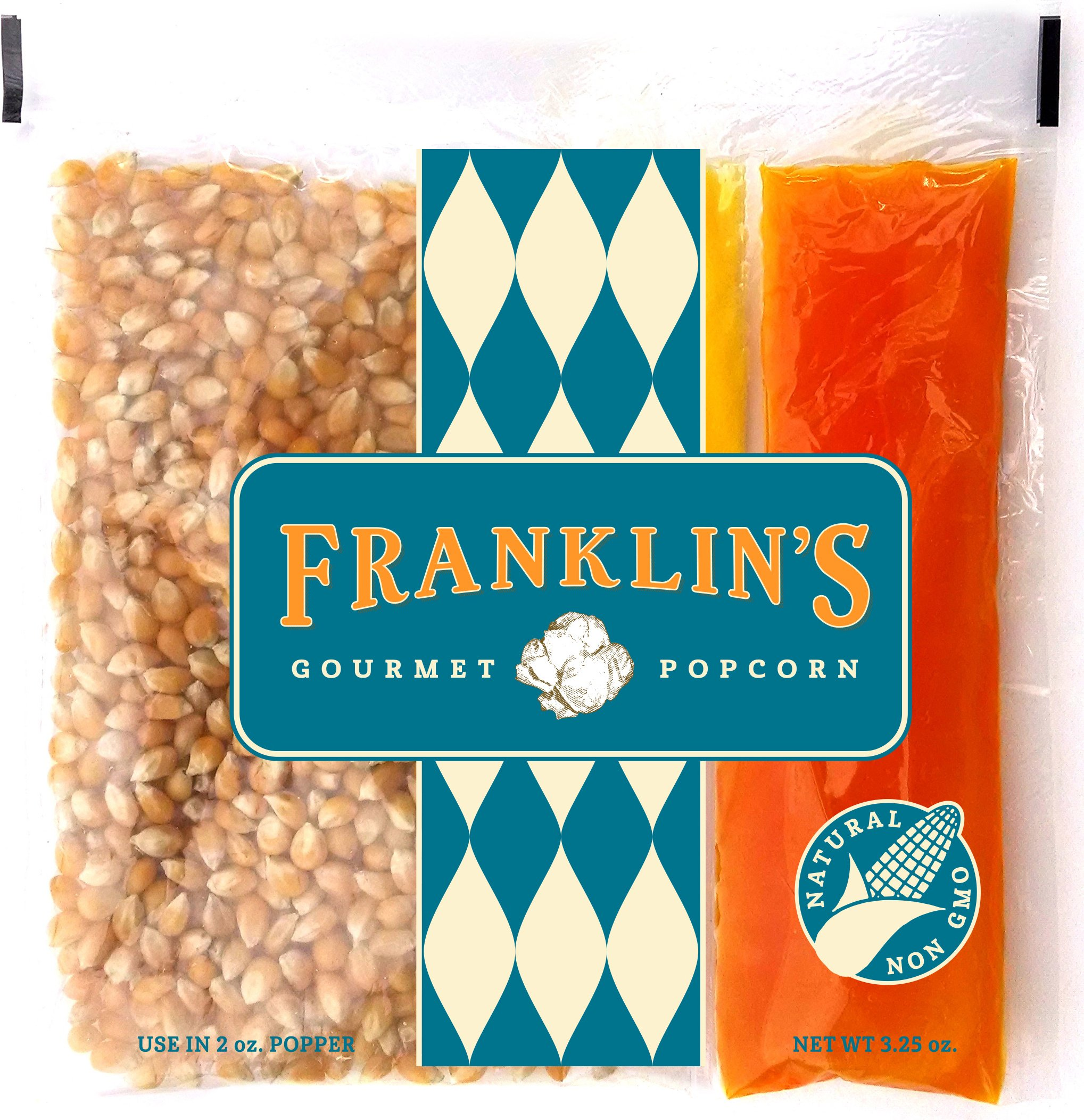 Franklin's Gourmet Movie Theater Popcorn. Organic Popping Corn, 100% Coconut Oil, Seasoning Salt. Pre-Measured Portion Packs (Pack of 10).