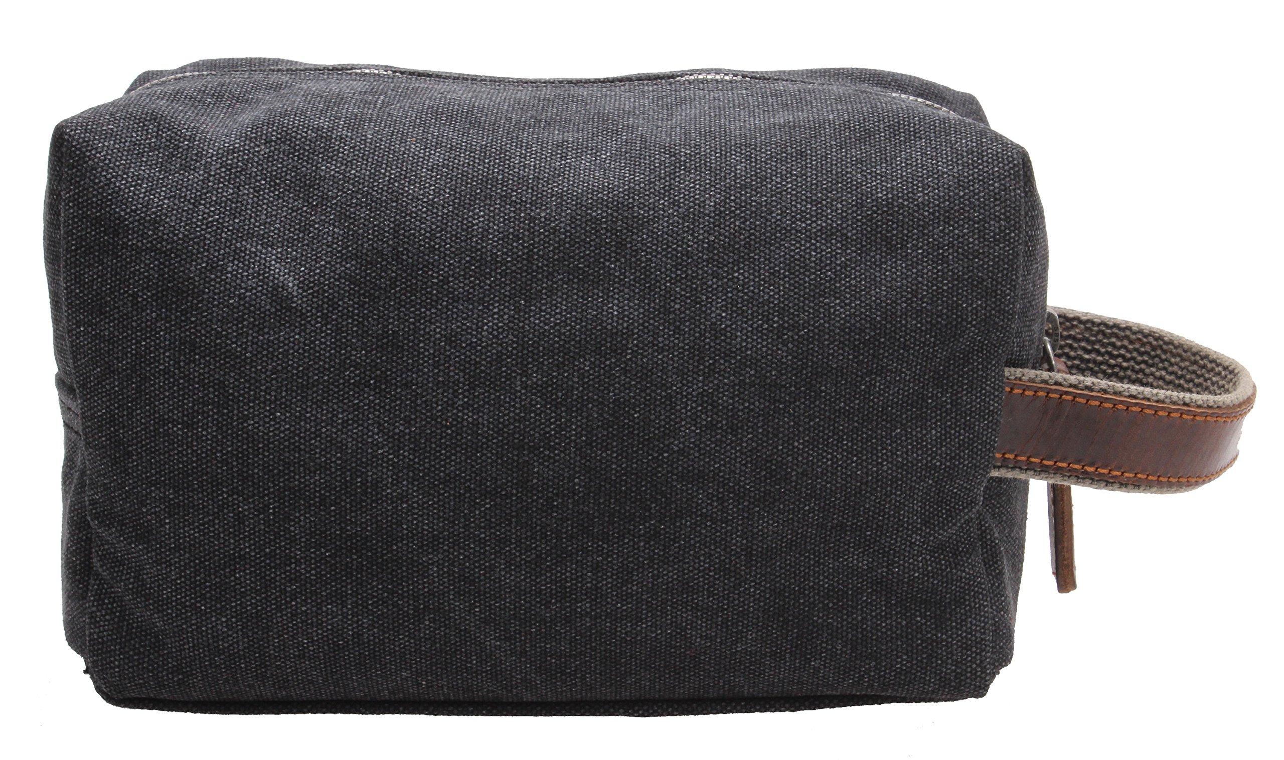 Canvas Travel Toiletry Organizer Shaving Dopp Kit Cosmetic Makeup Bag 9 Inch #B4 (grey) by OMAROA (Image #4)