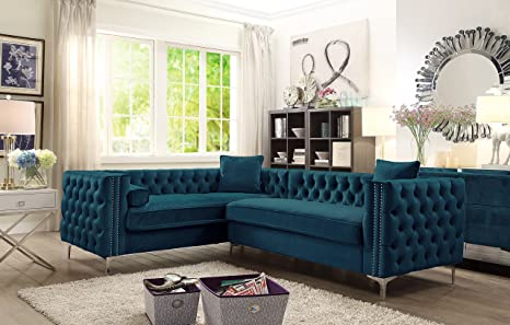 Iconic Home Mozart Elegant Velvet Modern Deeply Tufted with Silver Nailhead Trim Chrome Legs Left Facing Sectional Sofa, Teal