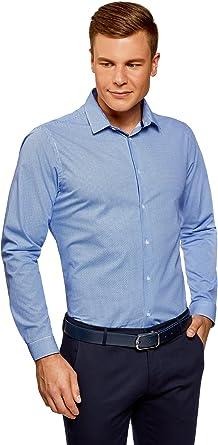 oodji Ultra Hombre Camisa Entallada con Dibujo Pequeño: Amazon.es: Ropa y accesorios