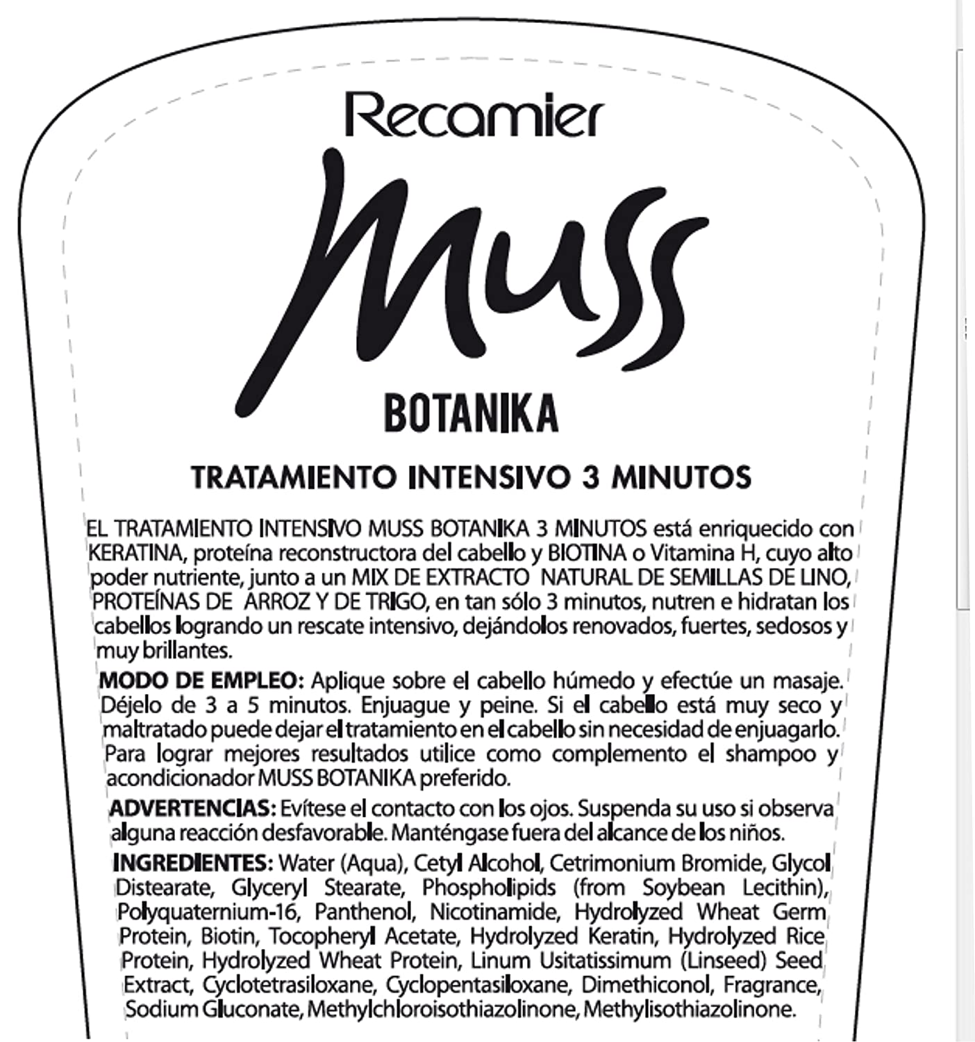 Amazon.com : MUSS BOTANIKA TRATAMIENTO INTENSIVO 3 MINUTOS WITH ...