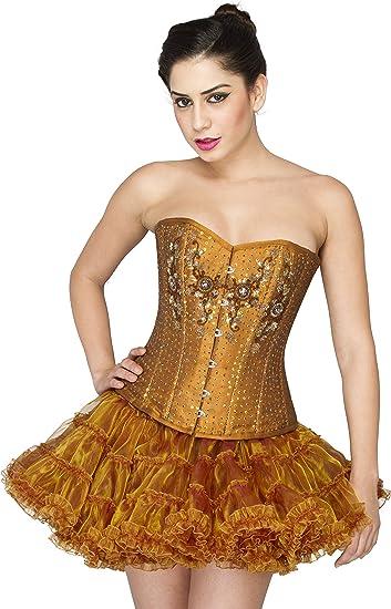 Cotton Silk Golden Sequins Gothic Burlesque Overbust Helloween Corset Dress
