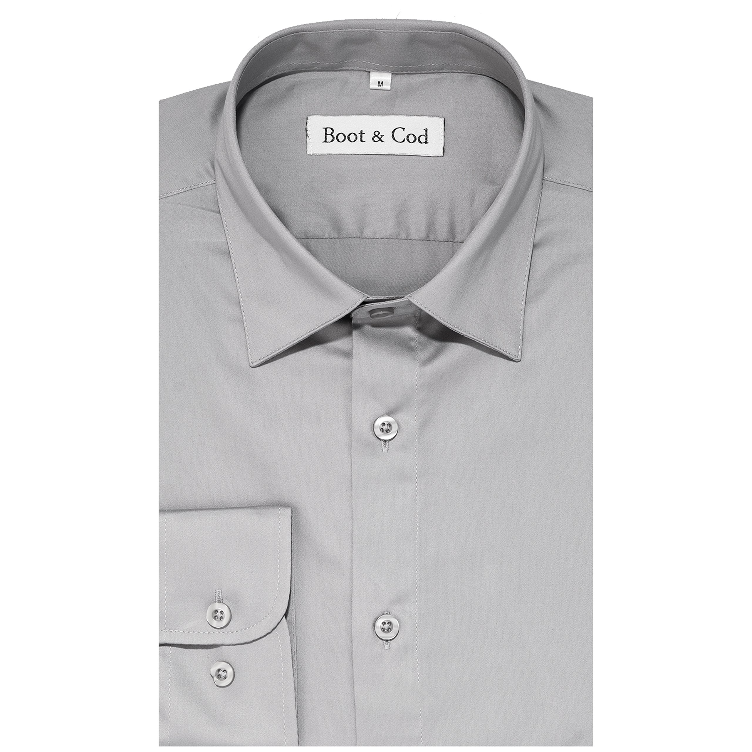 Boot & Cod Men's Charcoal Gray Fitted Long Sleeve Button Down Dress Shirt - M