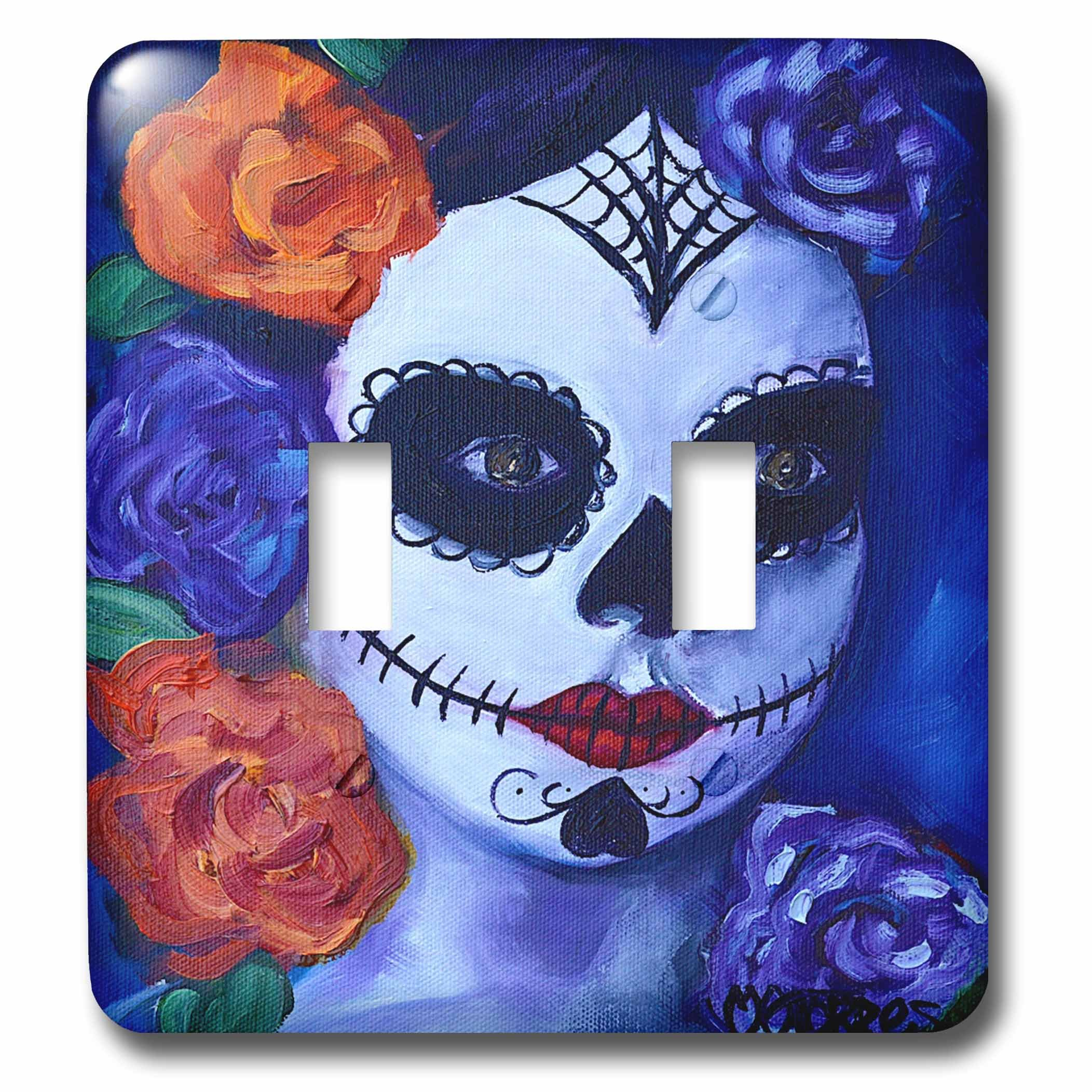 3dRose Melissa A. Torres Art Dia de Los Muertos - Image of Dia de los Muertos woman with roses - Light Switch Covers - double toggle switch (lsp_261563_2) by 3dRose