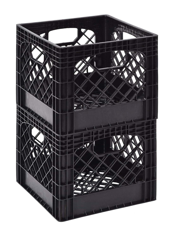 "Muscle Rack MK131311-B2PK 11"" x 13"" x 13"" Black Milk Crate (Pack of 2)"