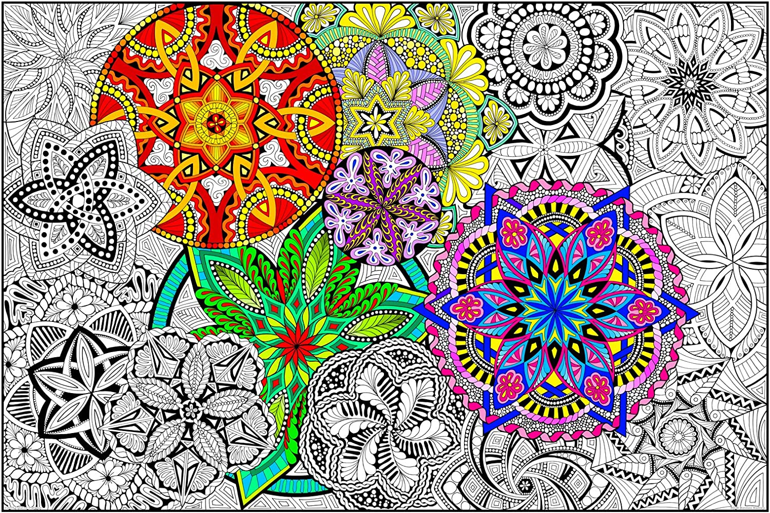 "Mandala Madness - Giant Wall Size Coloring Poster - 32.5"" X 22"" (Great for Kids, Adults, Classrooms, Care Facilities and Families!) 919pkfGlitL"
