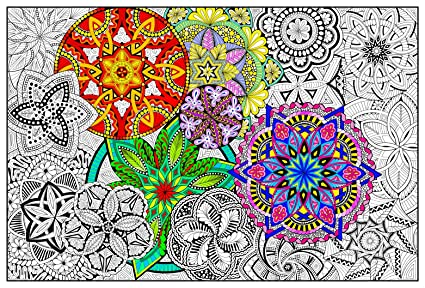 Amazon.com: Mandala Madness - Giant Wall Size Coloring Poster - 32.5 ...