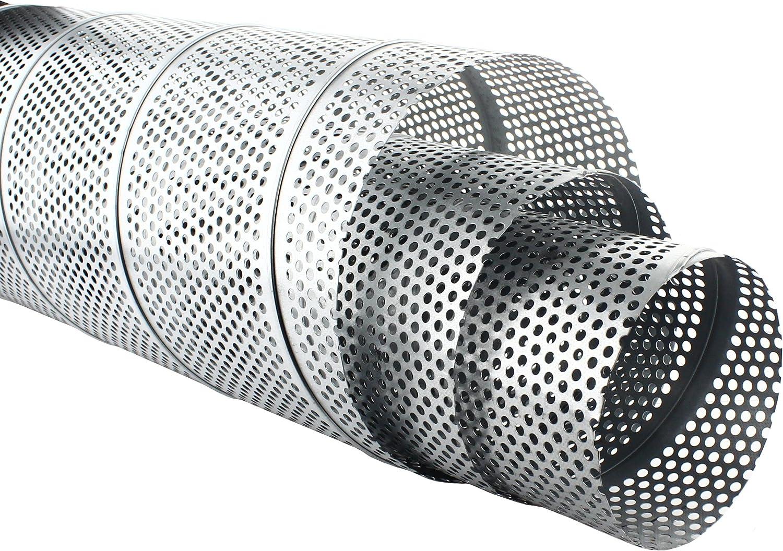 Wickelfalzrohr Perforiert Verzinkt 1 m Lang 5 mm Lochblech /Ø 80 x /Ø 200 mm 125 mm MKK