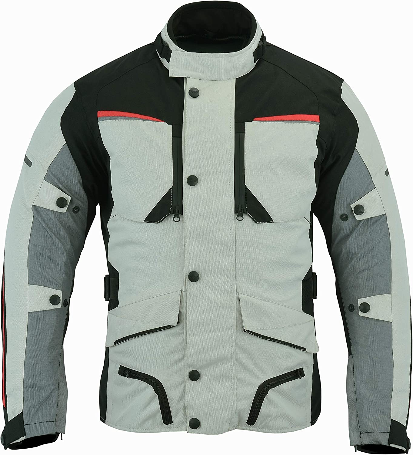 44-46 Mens Waterproof Armoured Motorcycle//Motorbike Jacket Winter Summer Off White//Grey Colour Textile Codura Fabric CE Armoured XXL