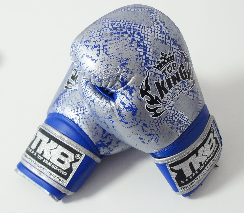 トップキング TOP KING キックボクシンググローブ SNAKE 銀青 8オンス B01KERBJWQ