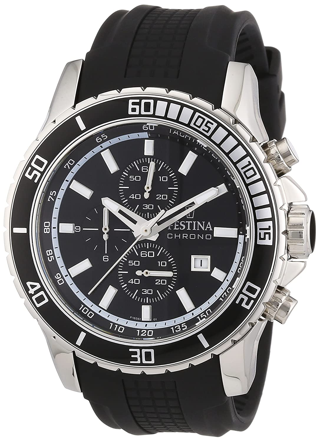 Amazon.com: Festina Mens Stainless Steel Rubber Strap Black Dial Chronograph Watch F165611: Watches