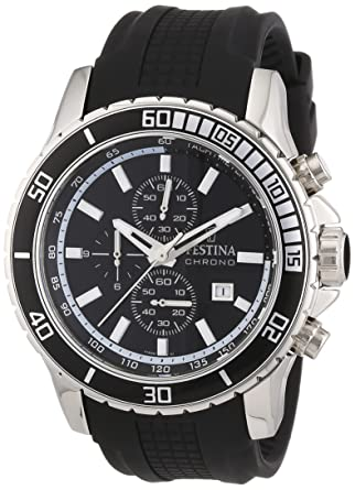 Festina Mens Stainless Steel Rubber Strap Black Dial Chronograph Watch F165611