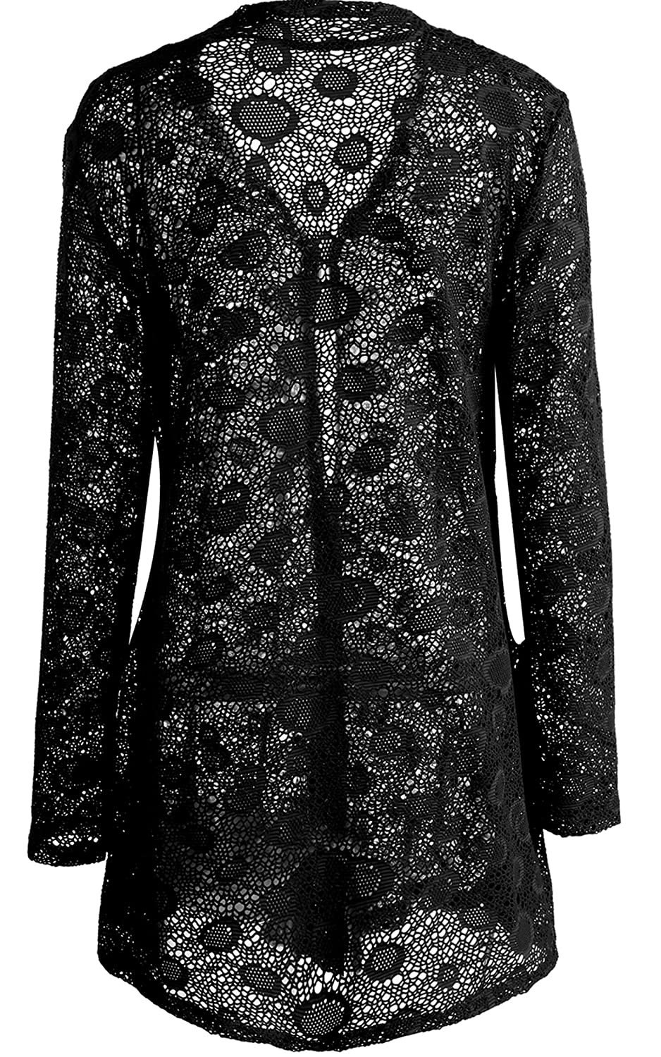 Meaneor Women's Sexy Lace Crochet Sheer Long Sleeve Open Front ...