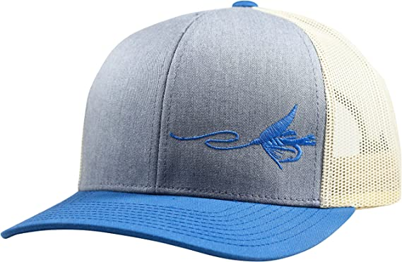 Lindo Trucker Hat - Fly Fishing - (Heather Blue Beige) at Amazon ... 2a01bdc0a7c0