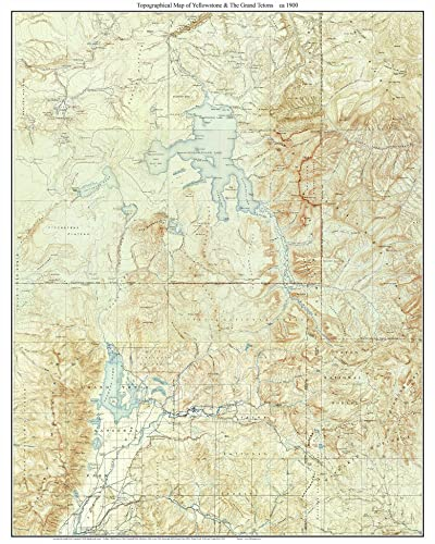Amazon.com: Yellowstone & The Grand Tetons ca 1900 Custom USGS ...