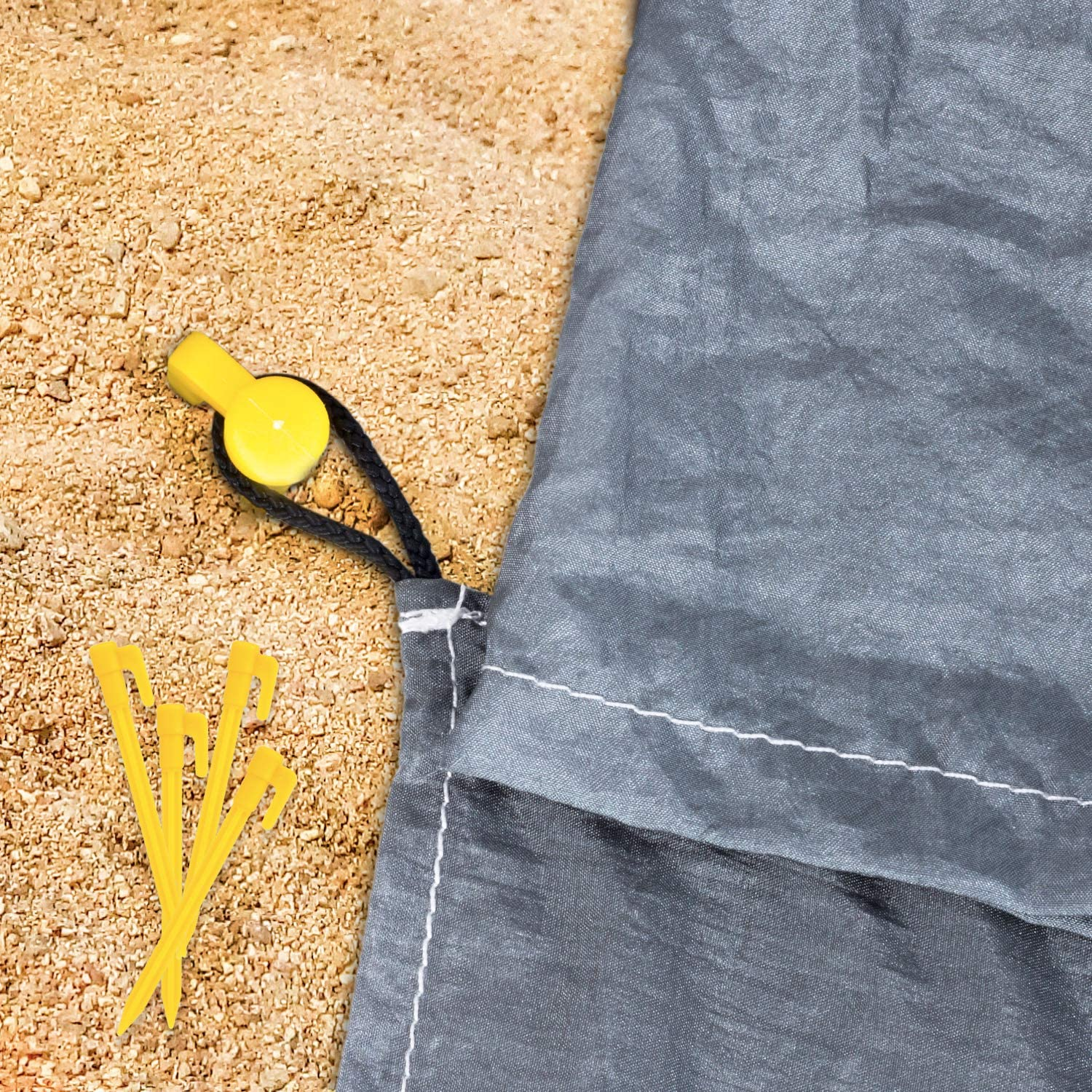 Sand Proof Beach Blanket Huge Ground Cover 9 x 10 for 7 Adults Compact Outdoor Sandless Beach Mat Made from Strong Parachute Nylon Includes Built in Sand Anchors /& Zippered Valuables Pocket