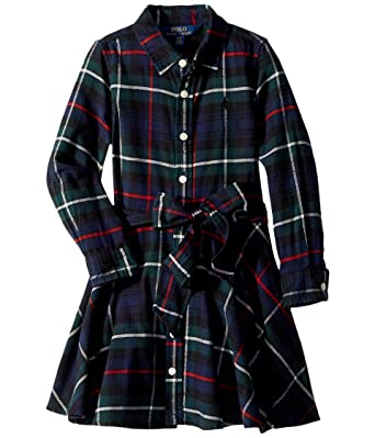 f2fcaf4ad Amazon.com  RALPH LAUREN Polo Girls Tartan Plaid Dress  Clothing