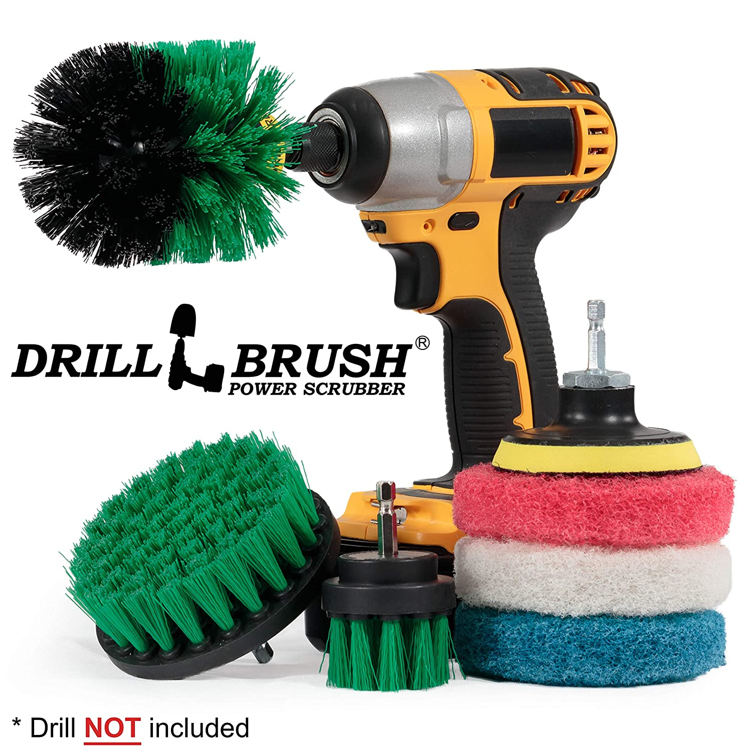 Drillbrush Cleaning Supplies - Brush Drill Attachment Kit - Drill Brush Pads - Kitchen Cleaning Brush - Oven Rack Cleaning - Scrub Brush - Power Cleaning Brush - Rotary Drill Brush Cordless Scrubber