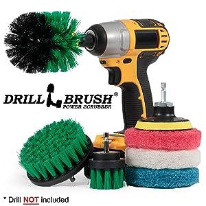 Drillbrush Cleaning Supplies - Brush Drill Attachment Kit - Drill Brush Pads - Kitchen Cleaning Brush - Oven Rack Cleaning - Scrub Brush - Power Cleaning Brush - Rotary Drill Brush Cordless Scrubber