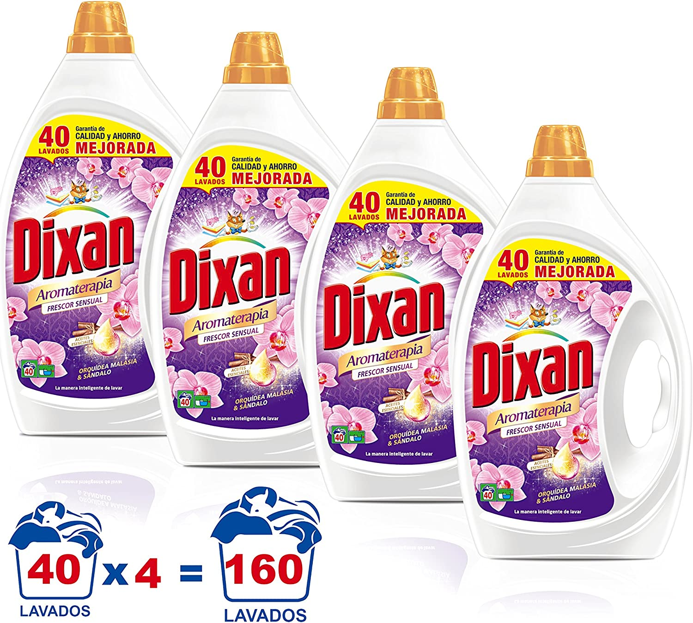 Dixan Detergente Líquido Aromaterapia Frescor Sensual - Pack de 4 - Total 160 Lavados (8 L)