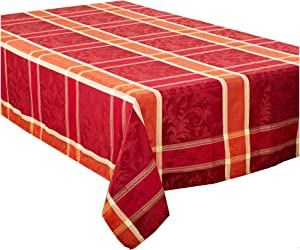 """Multi Color Red Thanksgiving Christmas Holiday Plaid Design Tablecloth. 70"""" x 120"""" Rectangle"""