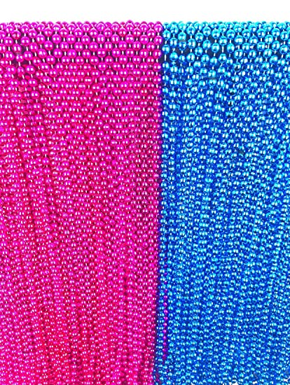 Amazon.com: 24 Large Gender Reveal Pink and Blue Beads for Baby Shower Announcement Party 33 inch with Bonus Baby Gift Game: Toys & Games