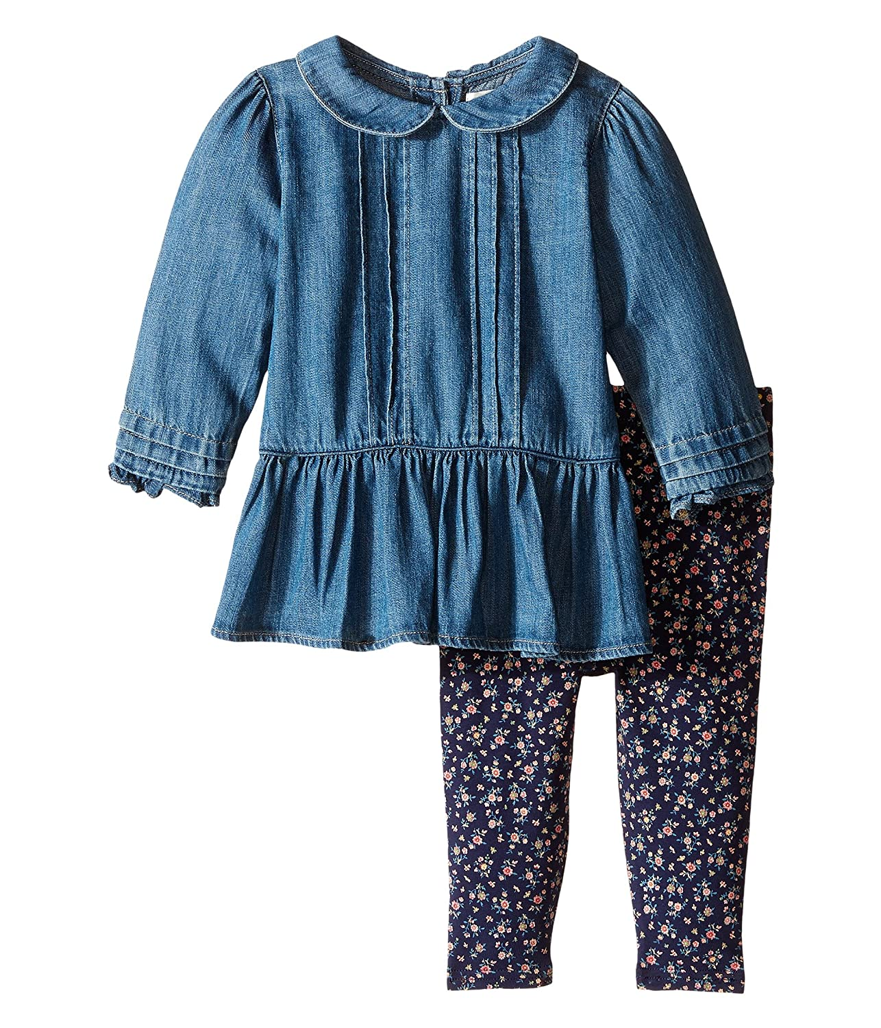 9f61a7473 Amazon.com: Ralph Lauren Polo Baby Girls Denim Shirt & Floral Leggings Set (12  M): Baby