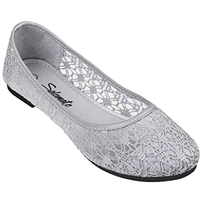 0bcc85a05 Solemate Women's Cute Lace Crochet Ballet Flat Comfy Slip On Loafers  Ballerina Shoes: Amazon.co.uk: Shoes & Bags