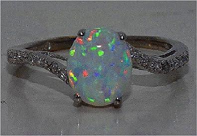 Elizabeth Jewelry 7mm Opal & Diamond Round Ring .925 Sterling Silver Rhodium Finish JoeJvNGJ7