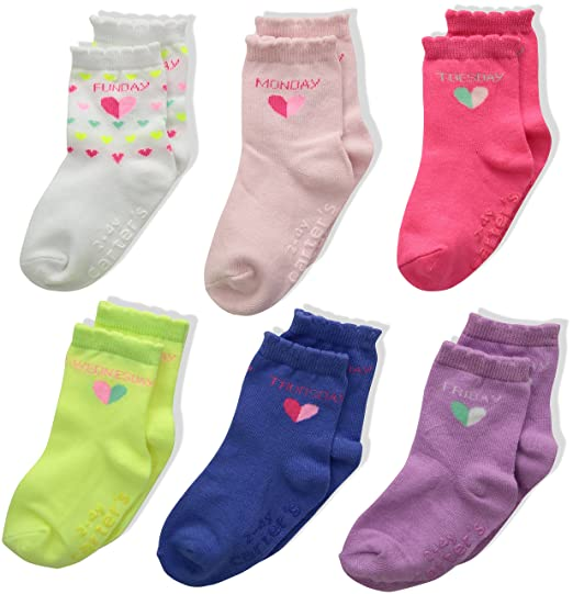 Carters Girls Little 6-Pack Socks with Grippers, Crew-Hearts Days of