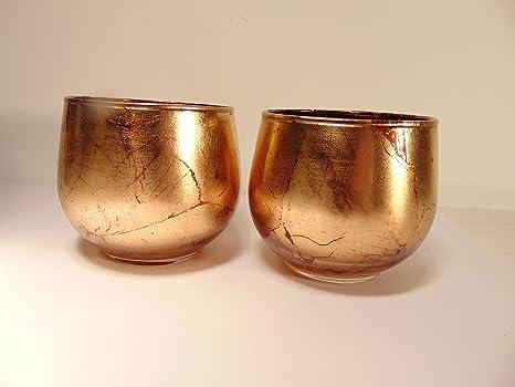 Bill Blass Home Decor Set Di 2 Gold Crackle Vetro Porta Candela Votiva