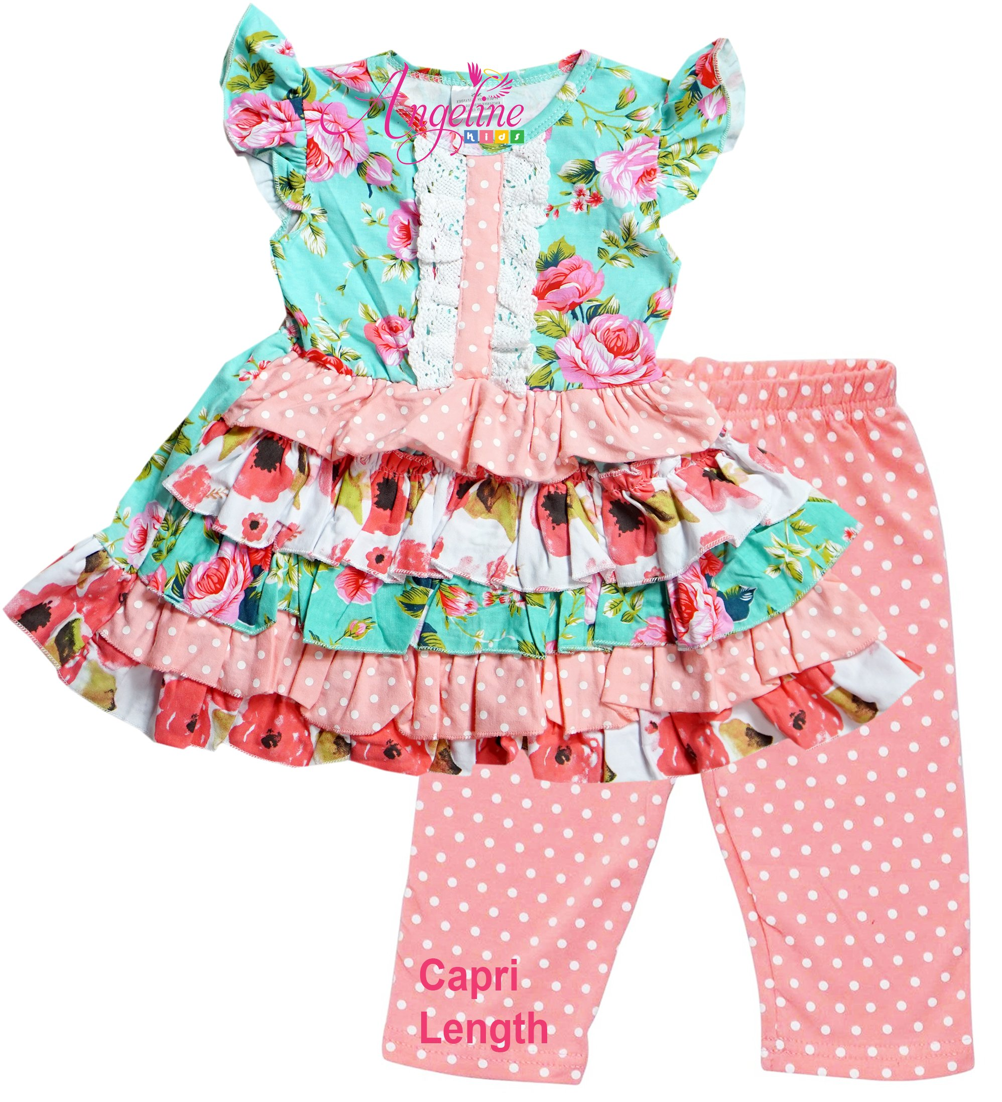 Little Girls Spring Summer Floral Tiered Coral Mint Polka Dots Capri Set 5/L