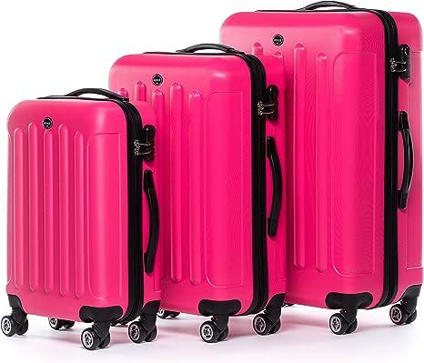 FERG/É Set 3 valises Voyage Rigide l/éger Lyon Ensemble de Bagages Trois pc 4 Roues Trolley 4 roulettes Doubles Bleu