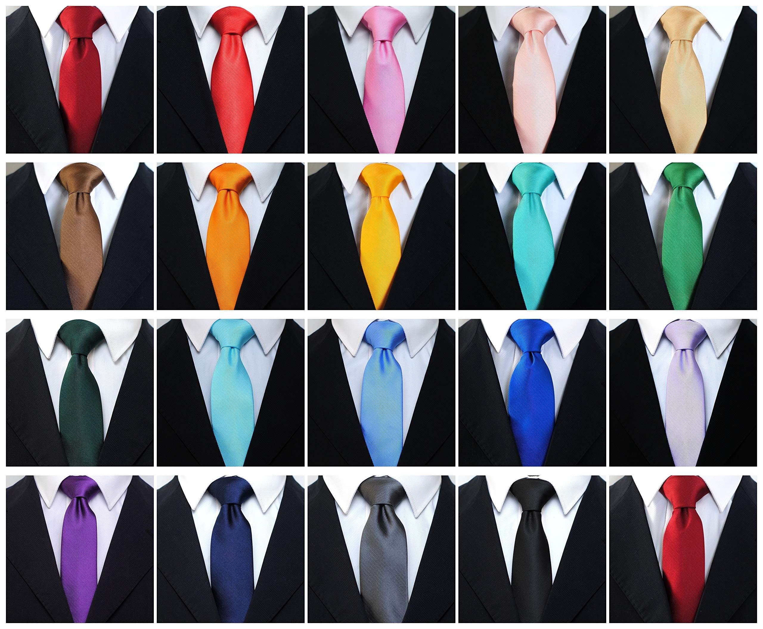 Skinny Solid Color Neckties Wedding Ties for Groomsmen 5 Pack ST518 by ZENXUS (Image #4)